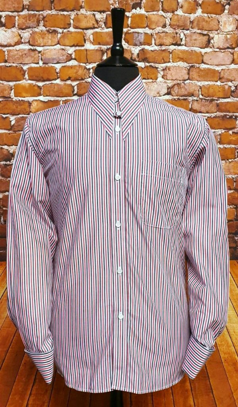 Oswald Triple Striped Spear Point & Tab Shirt